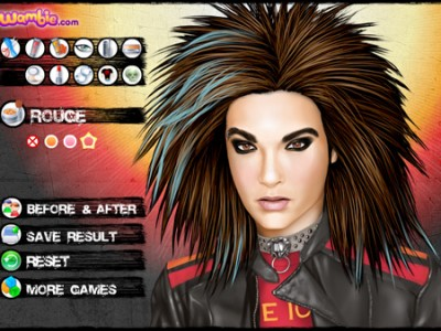 Change the make up and hairstyle of Bill Kaulitz from Tokio Hotel.
